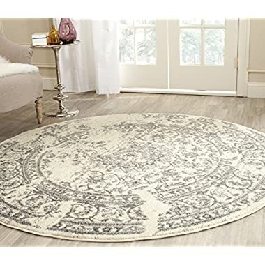 Safavieh Adirondack Collection ADR101B Ivory and Silver Oriental Vintage Distressed Round Area Rug (4' Diameter)
