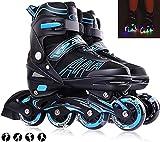 XIUWOUG Inline Skates Für Kinder Und Erwachsene, 8 LED-Blinkräder, 27-44 Einstellbare Schuhgröße, ABEC-7 Lager, Doppelt Schuhkopf Kann die Zehen Besser Schützen,Blau,XL 41_44
