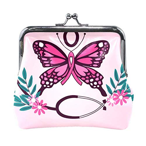 Coin Purse Clutch Pouch Wallet Cash Bag, Card Change Holder Organizer Storage Key Hold for Girl Women Female Party Gift Presents Case Money Bags Pink Butterfly