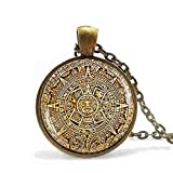Calendrier Maya Pendant Mayan Calendar Jewelry,aztec Calendar Necklace Antique Bronze Chain Astronomy Archaeology Jewelry For Men Calendrier Mayan Pendant Mayan Calendar Jewelry,aztec Calendar Necklac