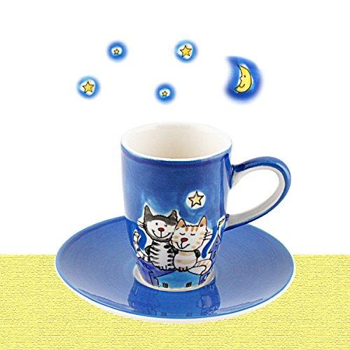 Mila Keramik Espresso-Tasse mit Untere, NachtKatzen | MI-88425 | 4045303884250