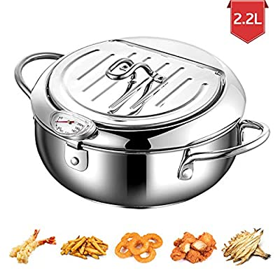 304 Stainless Steel Tempura Deep Fryer Pot With Thermometer And Oil Drip Rack Lid for Chicken French Fries Fish and Shrimp Oil Frying Pan (2200 ML)