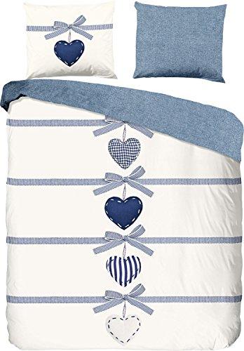 good morning Parure de lit réversible, Blau-wollweiß, 135 x 200 cm / 80 x 80 cm