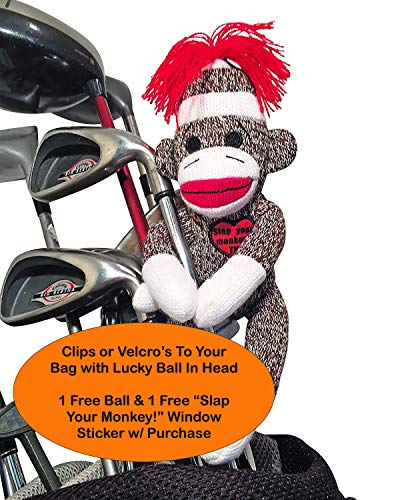 Slap Your Monkey! Golfers Stress Doll 1 Ball | Holds Golf Ball In Head | Funny Gag Gift Gets the Laughs | Mulligan Stuff Sack for Glove, Tees & More | Bag Ball Holder | Funny Golf Gifts White Elephant