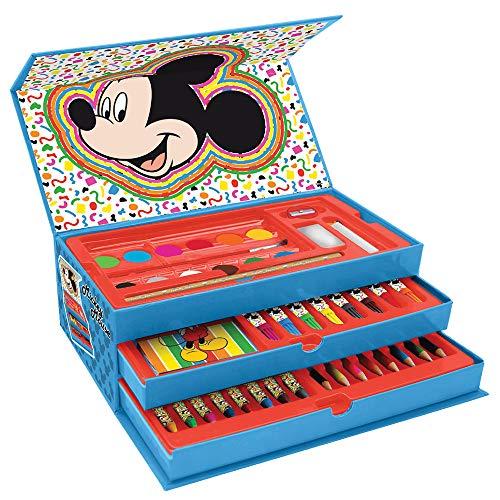 New Maletin Pinturas 3 Pisos Mickey Mouse, el Regalo para niño Ideal , Estuche de Pinturas Completo con Pinturas,rotuladores y Todo lo Necesario para la Etapa Escolar. Producto Oficial