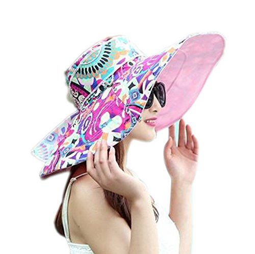 LOVEHATS Summer Large Brim Beach Sun Hats For Women UV Protection Caps Hat With Big Head Foldable Sun Hat pink totem