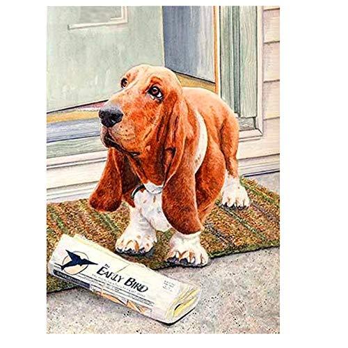 artaslf 5d pintura de diamante cuadrado completo bordado de diamantes enviar periódico perro diamantes de imitación DIY mosaico decoración del hogar-30x40 cm sin marco