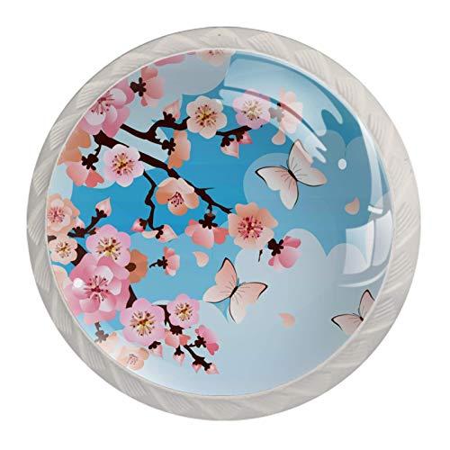 (4 piezas) pomos de cajón para cajones, tiradores de cristal para gabinete con tornillos para armario, hogar, oficina, armario, cerezo, flores, mariposas, 35 mm