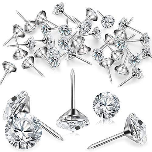 Tachuelas Clavos de Tapicería de Diamante Tachuelas de Cristal de Muebles Chincheta de Cabeza de Cristal Pasadores de Empuje Decorativos para Sofá Cabecero Tablero de Corcho (50 Piezas)