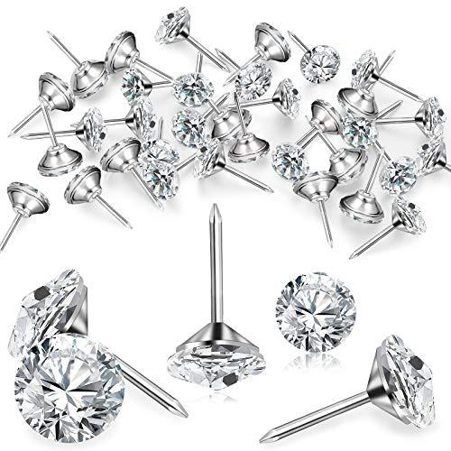 Chiondi per Tappezzeri in Cristallo di Diamante Puntine per Mobili Puntine da Pollice a Testa di Cristallo Decorative Puntine per Tappezzeria Divano Testiere Bacheca di Sughero (50 Pezzi)