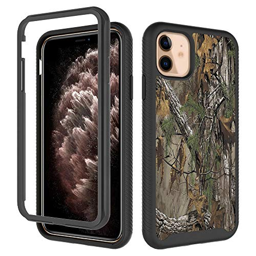 iPhone 11 Case for Men Boy Camouflage Tree Trunk Design Shockproof Rugged Dual Layer Cover Soft TPU and Hard PC Bumper Full-Body Protective Case for iPhone 11 - Camouflage Leaf Hunting Camo Forest
