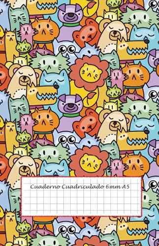 Cuaderno Cuadriculado 6mm A5: libreta cuadros 6mm - 100 páginas - 50 hojas - cuaderno cuadrícula 6x6 - cuadernos escolares bonitos - libreta infantil ... cuadriculado sin espiral - cuadernos animales