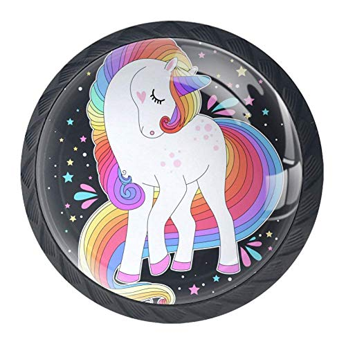 Pomos redondos de cristal, 4 unidades, diseño de unicornio blanco con pelo de arco iris y estrellas,…