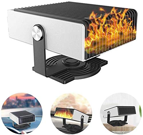 2-in-1 autoverwarmingsventilator, 12 V/24 V, 150 W, lage ruit, defogger, defroster met 180 graden rotatie, voor autoverwarming, niet beslaat.