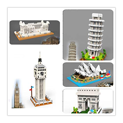 5 in 1 Mini-Architektur-Bausteine Set Big Ben/Arc de Triomphe/Griechischer Tempel/Sydney Opera House/Schiefer Turm von Pisa Weltberühmte Sammlung Modellbausätze für Kinder Erwachsene