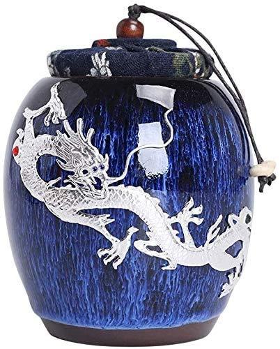 MWXFYWW Urnas de Porcelana Azul y Blanca para Cenizas