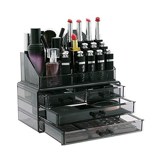 display4top Schmuck Aufbewahrungsbox Acryl Cosmetics Lipsticks Make-up-Organizer Halter Box (Rauchgrau)