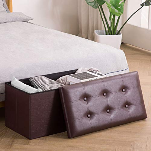 YOUDESURE Folding Storage Ottoman Bench, Faux Leather Footrest for Living Room, End of Bed Bench with Padded Seat, Holds up to 350lbs, Brown