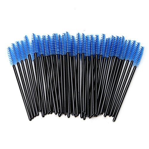 PEPECARE 100pcs brosses à cils jetables Kits de maquillage applicateur baguettes de maquillage (Bleu)