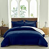 FlySheep Luxury Flannel Sherpa-Backing Thick Heavy Blanket Warm for Winter, 3-Layer Soft Plush Fleece Blanket Set for Bed and Coach (3-Pcs with 2 Pillow Shams) - Navy, Queen