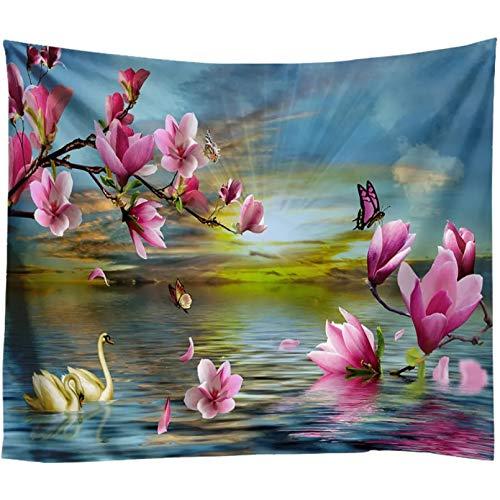 N/A Tapisserie 3D-Druck Pink Flower Tapisserie Indische Mandala-Wandteppiche Chic Sunlight Sea Wall Hängende böhmische Wandkunst Teppiche Beach Pad Home Decoration Art Geschenke