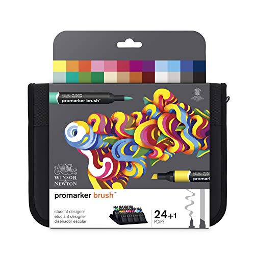 Winsor & Newton Brushmarker - Pack De 24 Rotuladores De Diseño, Diseño Escolar