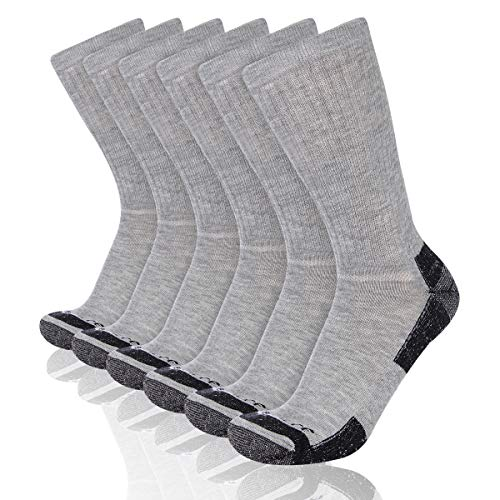 Heatuff Mens 6 Pack Crew Athletic Work Socks With Cushion, Reinforced Heel & Toe For All Seasons, A - Grey 6, Shoe Size 6-12 / Sock Size 10-13