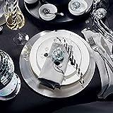 Butlers Piatto Deko-Teller Ø 35 cm - Servierteller in Silber-Optik - Dekorative Schale als Platzteller aus Edelstahl - 6