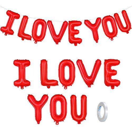 Juego de Globos I Love You Banner de Globo Rojo de Papel de Aluminio I Love You para Llenado de Aire Guirnalda de Boda Propuesta de Matrimonio Decoración de San Valentín, 16 Pulgadas