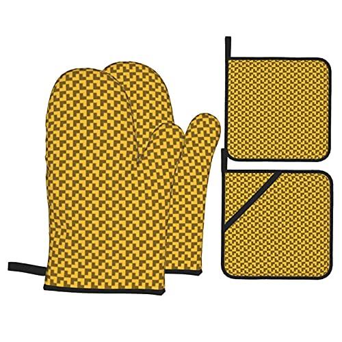 Patrón geométrico Tetris guantes de horno amarillo oscuro con 2 soportes para ollas, juego de guantes de cocina resistentes al calor para microondas Horno de cocción barbacoa