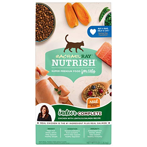 Rachael Ray Nutrish Indoor Complete Premium Natural Dry Cat Food, Chicken with Lentils & Salmon Recipe, 3 Pounds (Packaging May Vary)