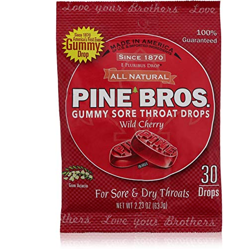 Pine Bros Softish Throat Drops Value Size Wild Cherry -- 32 Drops (Pack of 6)