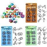 Polai 24Pack Rompecabezas Metal + 24Pack Juegos de Ingenio Laberinto Juegos de Habilidad Puzzles Calendario de Adviento para Niños Adultos