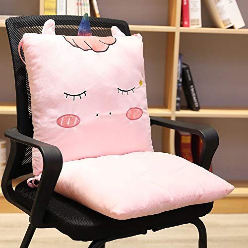 ChezMax Detachable Cartoon Animal/Fruit Polyester PP Cotton Filled Seat Back Chair Pad Thickened Rocking Chair Cushion Set with Ties for Home Office Dinning Chair Pink Horse
