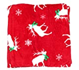 NORTH POINT Festive Holiday Themed Plush Throw Blanket Décor 50' x 60' (Red Reindeer Print)