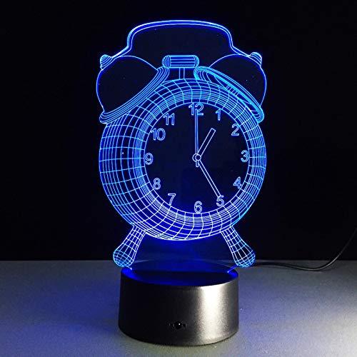 Luz Nocturna 3D Reloj Lámpara De Ilusión Óptica Led Para Niños, 16 Colores De Iluminación Lámpara De Mesa De Noche Para La Decoración Del Partido Presentes De Cumpleaños