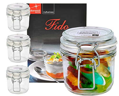 Bormioli Rocco 4er Set Drahtbügelglas FIDO, 200 ml, Einmachglas mit Bügelverschluss, inkl. Rezeptheft