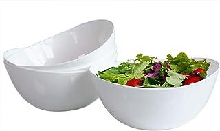 Honla 48 Oz Pasta Salad Bowls,Set of 4,Unbreakable Plastic and Wavy Rim,White