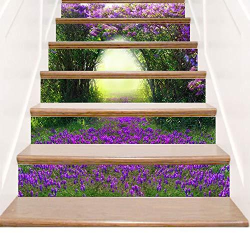 Treppenhaus Aufkleber 3D Lila Blume Landschaft Dekoration Schritt Aufkleber Aufkleber selbstklebende Wandaufkleber Kunstdekor Schlafzimmer Home Wohnzimmer Weihnachten Küche