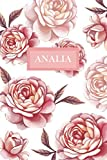 Analia: Personalized Notebook with Flowers and Custom Name – Floral Cover with Pink Peonies. College Ruled (Narrow...