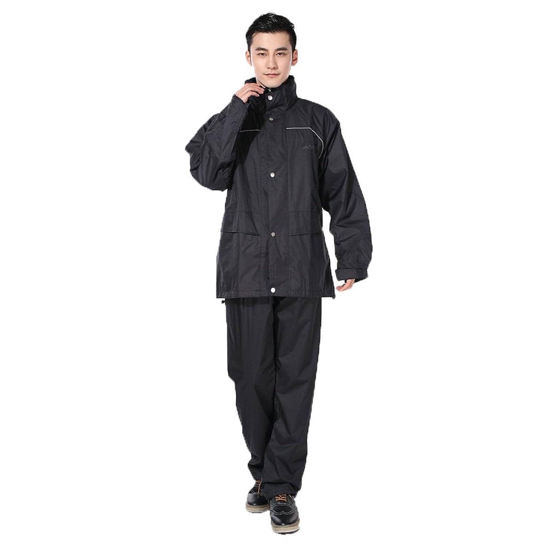 ZEMIN ポンチョ レインウェア スリッカー レインコート ポンチョ ウインドブレーカー 防水 カバー ユニセックス パンツ スポーツ セット ポリエステル、 ブラック、 2サイズあり (色 : 黒, サイズ さいず : XXXL)