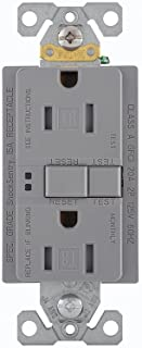 Eaton GFCI Self-Test 15A -125V Tamper Resistant Duplex Receptacle with Standard Size Wallplate, Gray