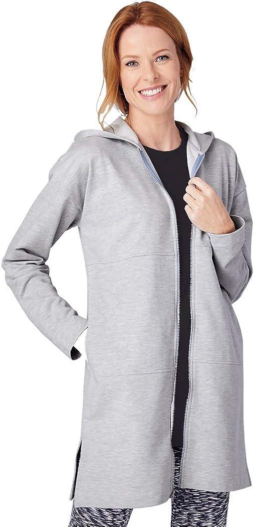 AmeriMark Women's French Terry Jacket Front Zip Long Sweatshirt Jacket with Hood
