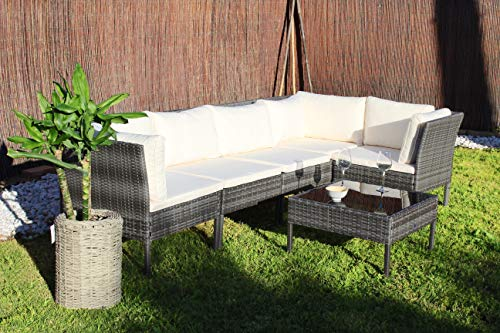 Kiefergarden Kansas Sofa esquinero Modular de jardín en ratán sintético, Gris