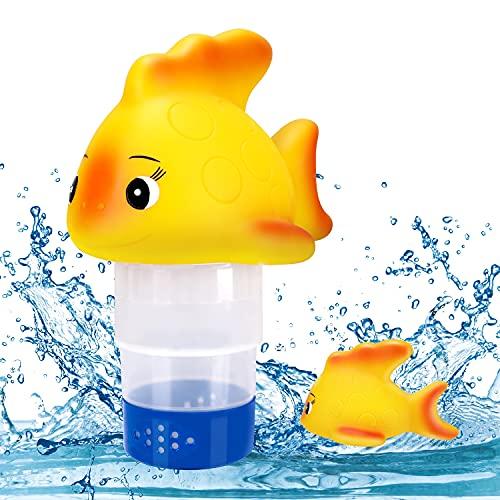 Gafild Dosierschwimmer, Schwimmender Chemikalienschwimmer Einstellbar Chlorspender Poolzubehör für Innen- und Außenpools Whirlpools Spas, Kann 5 Stück 3 Zoll Chlortabletten aufnehmen