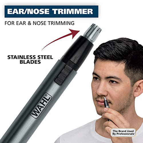 Wahl Micro Groomsman Personal Pen Trimmer & Detailer for Hygienic Grooming with Rinseable, Interchangeable Heads for Eyebrows, Neckline, Nose, Ears, & Other Detailing - Model 5640-600