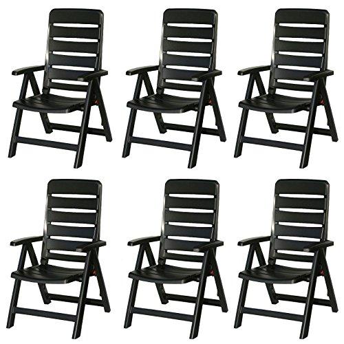 6 Kettler Nizza Gartenstühle in anthrazit Klappsessel Gartenmöbel Sessel