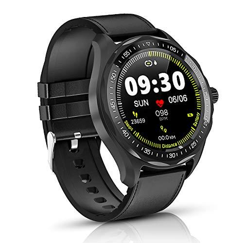 Smartwatch, 1.3 Zoll Full Round HD Farb Touchscreen Bluetooth Fitness Tracker mit Herzfrequenz Schlaf Tracking, 5ATM wasserdichte Fitness Uhr, Aktivitäts Tracker Smart Uhr for Herren