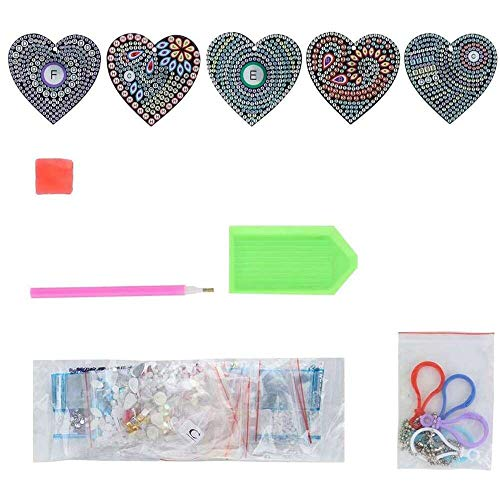 YuKeShop DIY Llavero, 5 unids/set DIY en forma de corazón llavero colgante con taladro completo Rhinestone