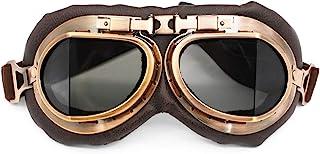 Nuoxinus Motorcycle Goggles, Vintage Aviator Pilot Style Motocross Bike Cruiser Scooter Goggle, Anti UV Anti-Scratch Dustp...